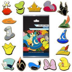 disney trading pin sets   Disney Character Hats Pin Set - Collectible Pin Pack - 5 Random