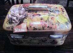 Upcycled Train Case, French Decor Suitcase, French Decoupage American Tourister Train Case