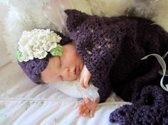 Sugar Plum Snuggle Sack and Hat Crochet Baby by CielosCloset