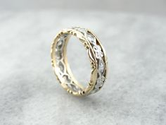 14K Gold and Platinum Vintage Filigree Wedding Band by MSJewelers