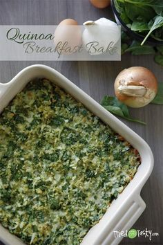 This quinoa breakfast bake looks so delicious! We also love the simple, white dishware it's baked in! #recipe #breakfast