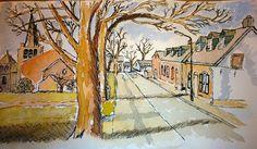 Een straat uit mijn kinderjaren in Meerveldhoven. De Schoolstraat richting Mariaplein. Inkt en waterverf