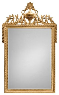 French Louis XVI Style Carved Gilt Mirror
