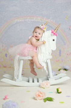 Rainbows and unicorns, what a lovely sight 🌈💗✨🦄 Beautiful photo featuring our Belle Fleur tutu sparkle romper P 1st Birthday Photoshoot, First Birthday Photos, Birthday Pictures, Unicorn Birthday Parties, Unicorn Party, Baby Birthday, First Birthday Parties, First Birthdays, Unicorn Rocking Horse