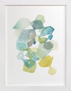 Hexagon with Dots in Blue by Yao Cheng at minted.com