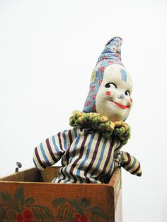 Vintage Jonthay JackInTheBox Toy Clown Wooden by antiquewhisperer, $75.00