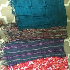Scarf Bundle (4) All four of these scarves have been worn. All in great condition! The dark turquoise/ blue scarf is from Limited Too (store is now called Justice). I think the purple stripe one is from Gap. ❗️COMMENT IF YOU WANT TO ORDER SELECT SCARVES. ILL MAKE A SEPARATE LISTING FOR YOU ❗️Smoke free home! Gap Accessories Scarves & Wraps