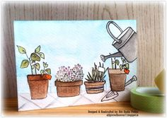 altenew garden grow. watercolor. a different approach - the watering can is actually being used to water the plants.