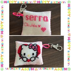 "Cross stitch, key chain😊 personalized for birthday gift ""hello kitty"" and back to school."