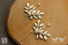Haarschmuck & Kopfputz - Braut Kopfschmuck Hochzeit Haarnadeln mit Perlen - ein Designerstück von love_birds bei DaWanda