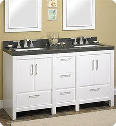 "Fairmont Designs Belleair Beach 60"" Contemporary Double Sink Bathroom Vanity - Glossy White"