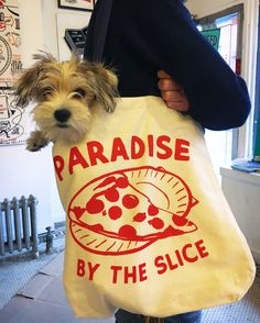 Hand screen printed tote bag, Dog not included.