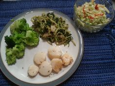 TQI Dinner: seared scallops, broccoli, pickleback slaw, and sauteed kale/broccoli/Brussels sprouts mix