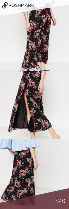 Zara Long Floral Printed Slit Skirt. SZ L. NWT Zara Long Floral Printed Slit Skirt. SZ L. NWT Zara Skirts