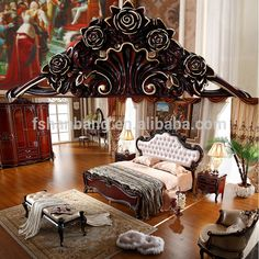 Luxury French Royal Wood Double Bed Designs King size Bedroom ...