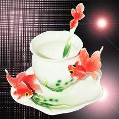 Fine Art Porcelain Ceramic Fish Goldfish Coffee Tea Set Cup Sauce Spoon+Gift Box
