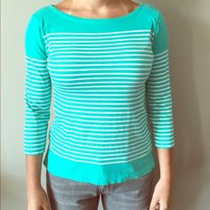 J.Crew turquoise striped top XS NWOT NWOT casual top from J.Crew size XS J. Crew Tops Blouses