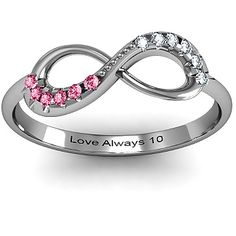 Infinity Accent Ring...has mine and Ron's birthstones..10th anniversary ideas
