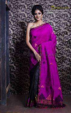 Assamese Mekhela Chador in Magenta and Black Womens Clothing Stores, Online Clothing Stores, Dresses Online, Clothes For Women, Mekhela Chador, Simple Sarees, Latest Sarees, Banarasi Sarees, Saree Dress