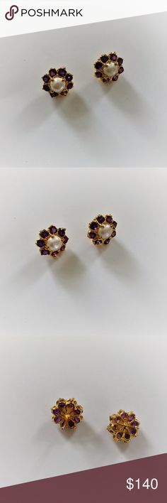 Amethyst  Earrings/Birthday gift for her Pk Traditional  Code: 151 Gems and Jewelry Material: Studs 24k Gold Masking. Gems: Amethyst  Pakistan  Made in Pakistan- Jewelry Earrings