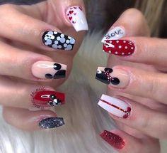 Most Popular Ideas Disney Christmas Nails Acrylic Disney Acrylic Nails, Best Acrylic Nails, Disney Christmas Nails, Holiday Nails, Disney Nail Designs, Nail Art Designs, Disneyland Nails, Disney Inspired Nails, Mickey Mouse Nails