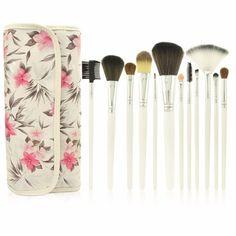 12 PCS custom Cosmetic #MakeupBrushesSet Kabuki Foundation Face Powder Eyeshadow Brush with flower pattern bag