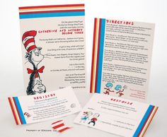 Dr. Suess baby shower ideas | Dr Seuss Baby Shower Invitation Suite by SDezigns on Etsy