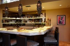 light up onyx bar with lights by arteriors