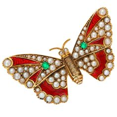 Victorian gold and enamel jeweled butterfly.