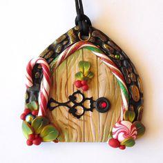 Holiday Santa Door Ornament by Claybykim on Etsy