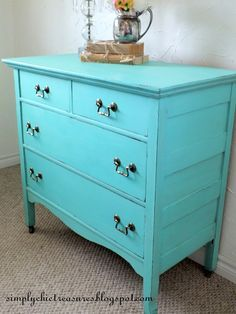simply chic treasures: A Fresh Turquoise Dresser Makeover – Modern Accent Furniture, Bedroom Furniture, Diy Furniture, Furniture Projects, Diy Projects, Furniture Refinishing, Recycled Furniture, Colorful Furniture, Painted Furniture