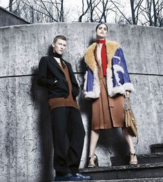 Prada Fall/Winter 2014-2015 featuring Mica Arganaraz and Karl Kolbitz. Photographed by Steven Meisel.