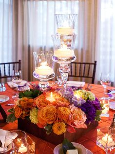 Flower box and candle holders