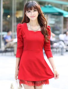 Simple Style Flare Hem Pure Color Dress for Women | Item Code 707635 at M.EastClothes.com