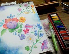 Flores hechas con acuarela.  #Flowers #WaterColor #Acuarelas #Dibujo
