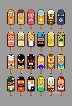 작년에 이거 그릴 때 아이스크림이 먹고 싶었던 모냥 #쿠키런 #아이스바 #픽셀아트 #Cookierun #Icecream #pixelart #pixel