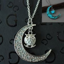 Fashion Women Necklaces Pendants Moon Glow In Dark Owl Gifts Hollow Out Jewelry