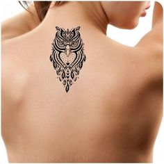Detailed Black Owl Tattoo