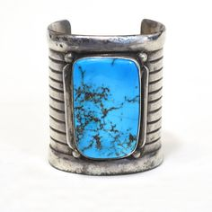 Vintage 1930s Navajo Old Pawn Sterling Silver and Turquoise Signed Cuff Bracelet
