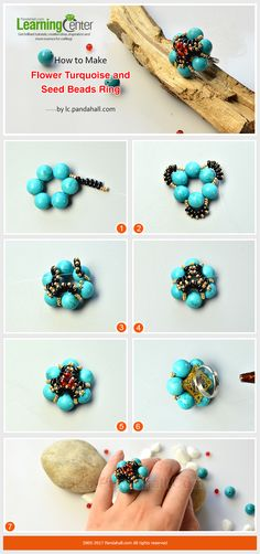 How to Make Flower Turquoise and Seed Beads Ring Save $5 for $60+ orders with PINEN5PH17; ave $10 for $120+ orders with PINEN10PH17.