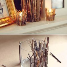 Wooden candle holder. Spread some super glue around the holder and then stick the sticks right over top. To add something really different paint over it with bright colors !