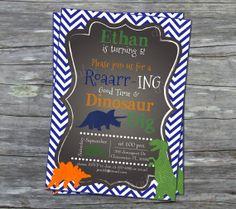 boys Dinosaur dig Birthday Party invitation