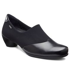 Ecco - Sculptured GTX Slip On Black Fairway T-Stretch $150. Enhance your comfort and style with the ECCO Sculptured GTX® Slip On shootie. The rich leather and stretch fabric upper of this women's bootie lends durable wear and easy on/off; the waterproof GORE-TEX® membrane protects against the elements. The ECCO Comfort Fiber System (ECFS™) removable insole maintains a healthy foot environment and adds support underfoot. Gore Tex, Dance Shoes, Dress Shoes, Loafers Men, Character Shoes, Oxford Shoes, Slip On, Booty, Pumps