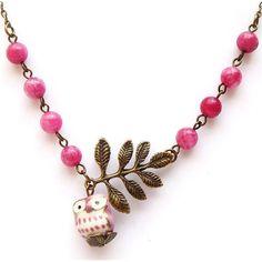 Antiqued Brass Leaf Purple Jade Porcelain Owl Necklace