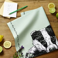 Our badger tea towel which is designed and printed in the UK.