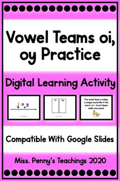 Visit my Teachers Pay Teachers store to access my vowel teams resource. Perfect for teaching and vowel teams practice post lesson. Compatible with Google Classroom and Google Slides.
