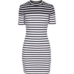 T BY ALEXANDER WANG Compact Stripe Blue&White Fine knit mini dress (860 BRL) ❤ liked on Polyvore featuring dresses, vestidos, short dresses, stripe dress, short-sleeve dresses, blue and white dress and blue white dresses