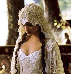 Beautiful, ornate vintage wedding veil