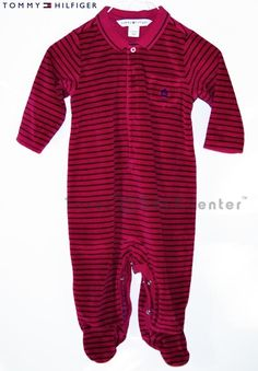 Tommy Hilfiger red velour 6 9 m months BOY infant baby romper long sleeve collar $6