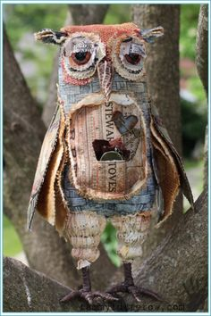 Tammy Tutterow - Tim Holtz Ecelectic Elements Grungy Owl Pinned by www.myowlbarn.com